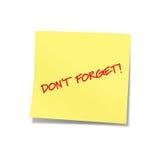 Vergeet geen gele nota 2 Stock Foto's