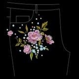 Vergeet het bloemenpatroon van borduurwerkjeans met rozen en me niet flo Stock Afbeeldingen