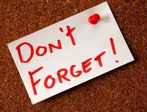 Vergeet niet! Stock Afbeeldingen