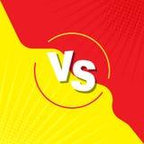 Vergeleken bij het scherm Strijdachtergrond tegen elkaar, geel tegen rood VERSUS in retro stijl, pop-art, wijnoogst Voor strippag royalty-vrije illustratie