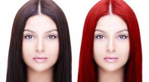 Vergelijkend portret van vrouw before and after het verven van haren stock afbeelding