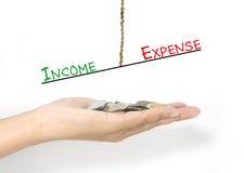 Vergelijking tussen inkomen en uitgave Stock Afbeeldingen