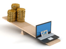 Vergelijking van elektronische handel en contant geld. Stock Foto's