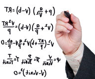 Vergelijkingen die in teller op glas worden geschreven. Stock Afbeelding