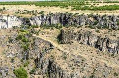 Vergers dans l'écoulement d'eau de streamd'andde vallée dans le Kazakh de rivière de canyon Photos stock