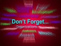 Vergessen Sie nicht die Geistesblitz-Anzeigen, die an Geschäfts-Komponenten sich erinnern Stockbild