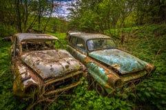 Vergeten auto die in de tuin rotten stock afbeelding
