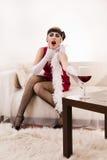 Vergiftigde vrouw in rood Royalty-vrije Stock Foto's