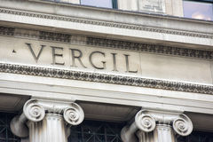Vergil哥伦比亚大学图书馆题字细节 免版税图库摄影