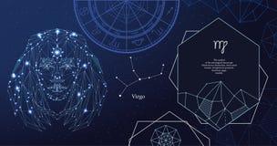Vergine del segno dello zodiaco Il simbolo dell'oroscopo astrologico Insegna orizzontale illustrazione di stock