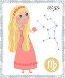 Vergine del segno dello zodiaco Personaggio dei cartoni animati divertente Fotografie Stock Libere da Diritti