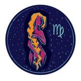 Vergine del segno dello zodiaco sul fondo stellato del cielo di notte Immagini Stock