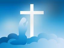 Vergine Maria al piede dell'incrocio nelle nuvole Fotografia Stock