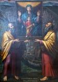 Vergine Maria con il bambino Gesù ed i san Immagine Stock