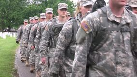 Verginia USA, May 2015, US Soldiers Walk On Street stock footage