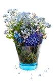 Vergissmeinnichtblumen in einem blauen transparenten Glas Lizenzfreie Stockfotos