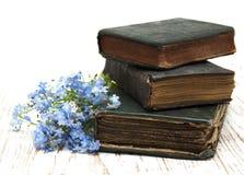 Vergissmeinnichtblumen und alte Bücher Lizenzfreie Stockfotos