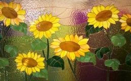 Verglaasd met bloemen Stock Foto