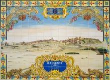 Verglaasde tegelsmuur die de stad op 1668, Badajoz, Spai ontspant Stock Foto