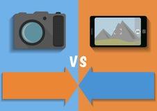 Vergleich der Kamera und des Telefons Stockbilder