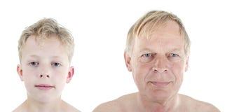 Vergleich des alten Mannes und des Jungen Stockfoto
