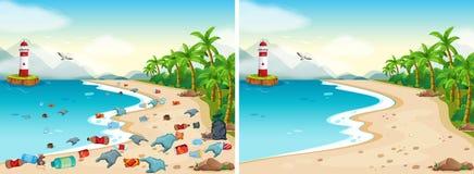 Vergleich des schmutzigen und sauberen Strandes lizenzfreie abbildung