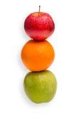 Vergleich von Äpfeln mit Orangen Stockbild