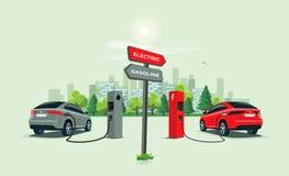 Vergleichen des Elektroautos gegen Benzin-Auto mit Richtungszeichen stockfotos