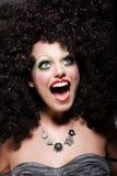 Vergnügen. Humorvolles begeistertes lustiges Frauen-Lachen. Überraschtes komisches Gesicht Lizenzfreies Stockfoto