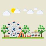 Vergnügungspark, angemessen mit Karussells, Unterhaltung lizenzfreie abbildung