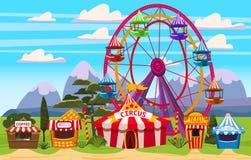 Vergn?gungspark, eine Landschaft mit einem Zirkus, Karussells, Karneval, Anziehungskraft und Unterhaltung, Eisstand, Getr?nke lizenzfreie abbildung