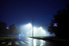 Övergångsställe över den tomma stadsgatan som täckas med dimma, nigttid, Fotografering för Bildbyråer