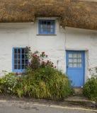 Vergoelijkt, steenplattelandshuisje met met stro bedekt dak, Cadgwith, Cornwall, Engeland Royalty-vrije Stock Afbeeldingen