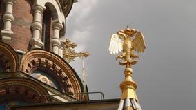 Vergoldeter Adler auf der Fassade der Kirche des Retters auf Blut Lizenzfreies Stockbild