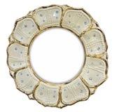 Vergoldeter Fotorahmen eingelegt mit Bergkristallen in der Form der Blume Stockbilder