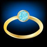 Vergoldeter Ring mit Juwelen Stockfoto