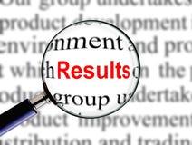 Vergrößern auf Wort-Ergebnissen Stockfotografie