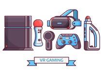 Vergrößerte Spiel-Ikonen der virtuellen Realität Vektor Abbildung