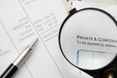 Vergrößerte Wörter von privatem und von vertraulichem Lizenzfreie Stockfotografie