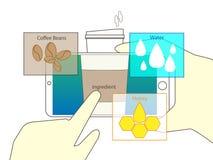 Vergrößerte Wirklichkeit der Scan-Kaffeetasse Betrachtung vektor abbildung