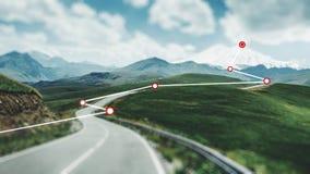 Vergrößerte Wirklichkeit Die Route wird aufgebaut kleines Auto auf Dublin-Stadtkarte stockfoto