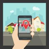Vergrößerte Wirklichkeit am Handy, virtuelle Standort Smartphonenavigation Stockfotos