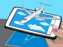 Vergrößerte Wirklichkeit Neue Technologien für Darstellung Das Flugzeug fliegt über die Wolken Sichtbarmachung der Zeichnung auf  lizenzfreies stockfoto