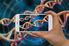 Vergrößerte Wirklichkeit oder AR-Technologie von DNA, Chromosom, Gen, Ana stockfotos