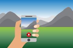 Vergrößerte Wirklichkeits-flache Vektor-Illustration Smartphone-Spiel Hand, die Handy mit on-line-Spiel hält Geolocation und Trav Lizenzfreie Stockfotografie