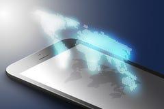Vergrößertes Wirklichkeitsmarketing-Konzept Schwarze Farbintelligentes Telefon mit Weltkarte AR-Anwendungshintergrund Vektor 3d vektor abbildung