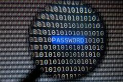 Vergrößerungsbenutzer-Passwort-Text auf Bildschirm Stockbilder