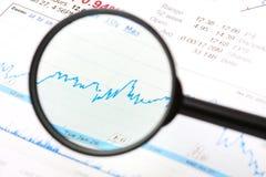 Vergrößerungsgerätobjektiv und -diagramm Stockfotografie
