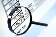 Vergrößerungsglas über Abbildungen Lizenzfreie Stockfotos