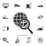 Vergrößerungsglas über einer globose Ikone Ausführlicher Satz logistische Ikonen Erstklassiges Grafikdesign Eine der Sammlungsiko lizenzfreie abbildung